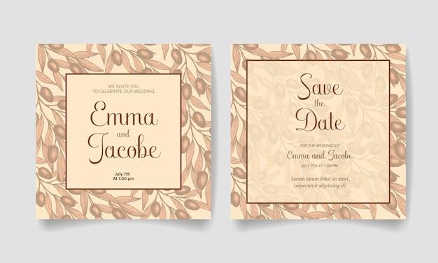 Salve a data, cartão de convite de casamento com azeitonas, folhas e galhos.