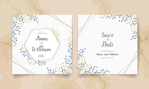 Salve a data, cartão de convite de casamento com galhos e folhas douradas.