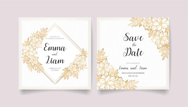 Salve a data, cartão de convite de casamento conjunto com flores, folhas e galhos dourados.