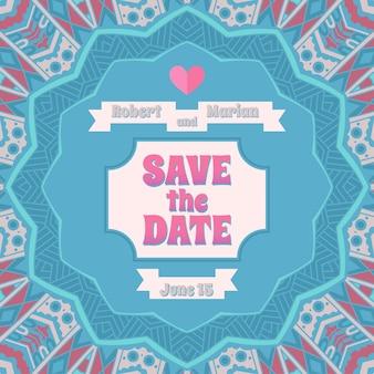Salve a data, cartão de convite de casamento em fundo ornamental listrado