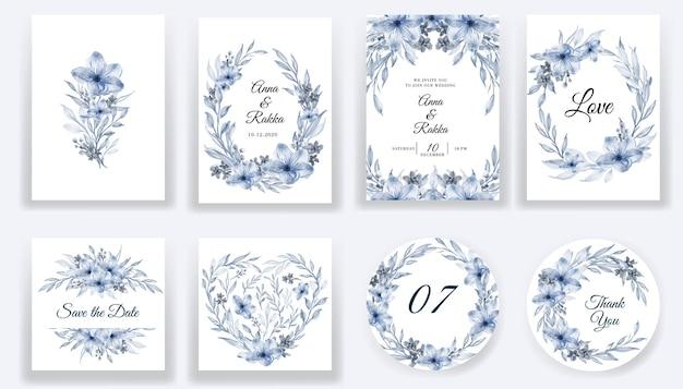Salve a data, cartões azuis em aquarela floral e coleção de convites