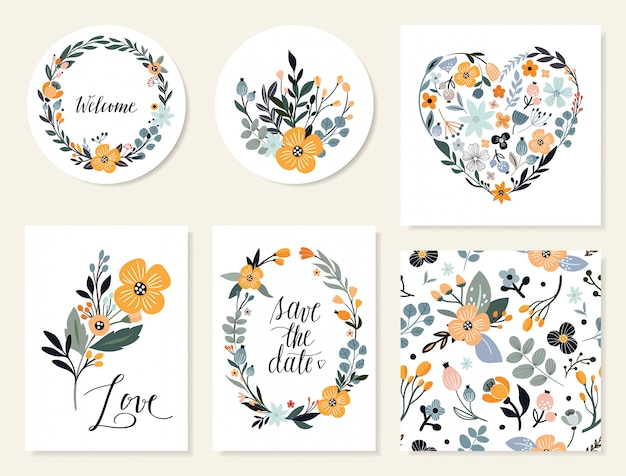 Salve a data cartões florais e coleção de convites