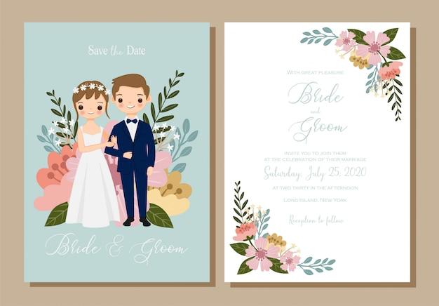Salve a data, casal bonito dos desenhos animados para o conjunto de cartão de convite de casamento