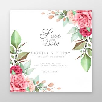 Salve a data com decoração de borda de flores em aquarela