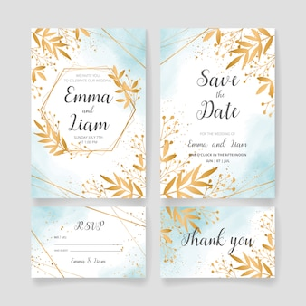 Salve a data, conjunto de cartão de convite de casamento