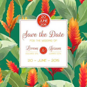 Salve a data, convite, cartão de felicitações, para casamento, chá de bebê. flores e folhas tropicais