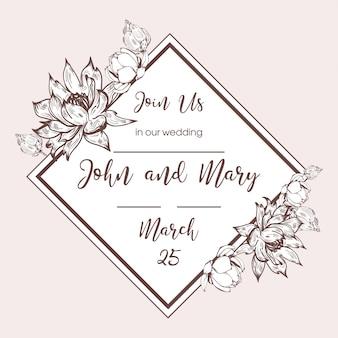Salve a data de casamento cartão convite quadro mão desenhada