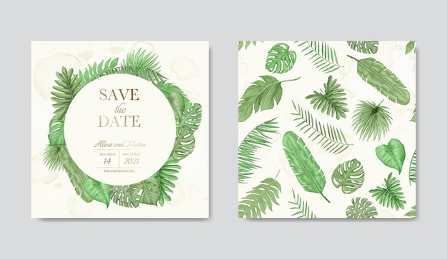 Salve a data do modelo de cartão de convite de casamento com buquê de vegetação floral tropical e pacote de padrão sem emenda
