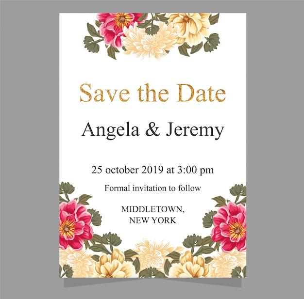 Salve a data e o conjunto de cartão de convite de casamento