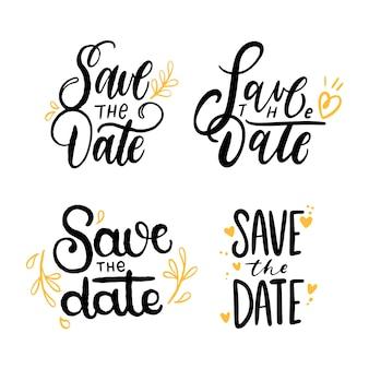 Salve a data letras coleção com ornamentos de ouro