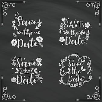 Salve a data lettering coleção no quadro-negro