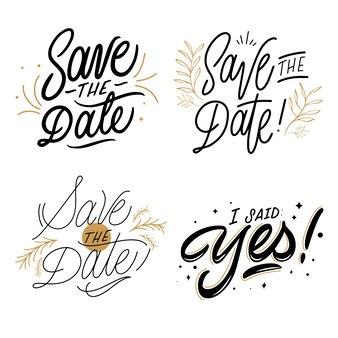 Salve a data lettering coleção