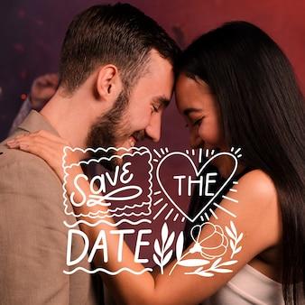 Salve a data lettering com casal