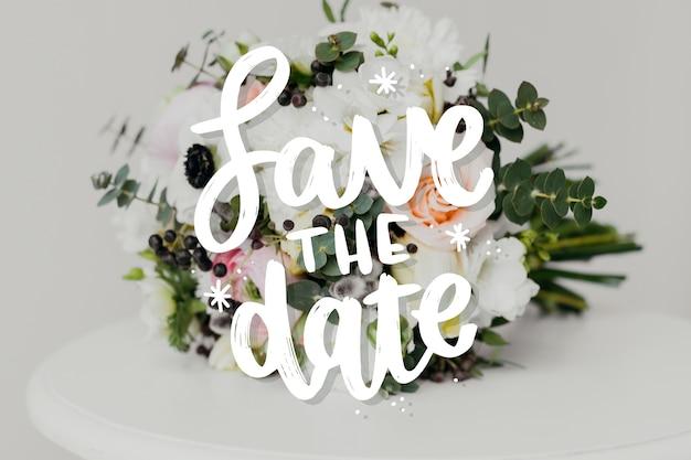 Salve a data lettering com foto de flores