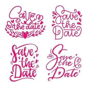 Salve a data lettering flores e corações