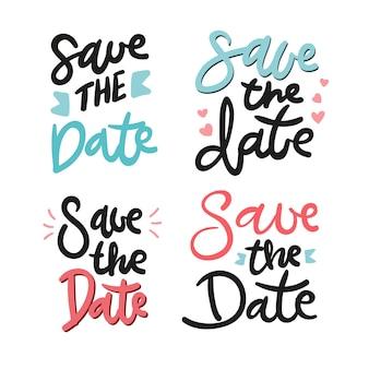 Salve a data lettering ilustração coleção
