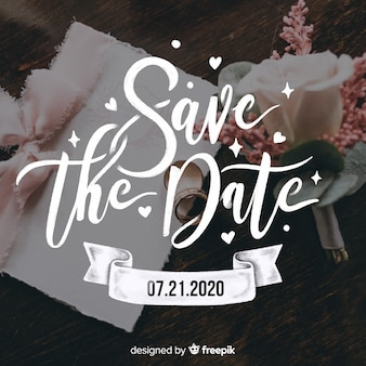 Salve a data lettering na imagem do casamento