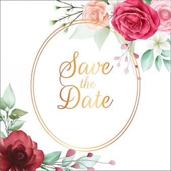 Salve a data moldura floral com lindas flores em aquarela vermelhas