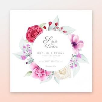 Salve a data moldura floral com lindas flores em aquarela