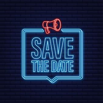 Salve a marca do distintivo de data no ícone de néon do megafone
