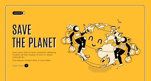 Salve a página de destino da celebração do dia da terra do planeta