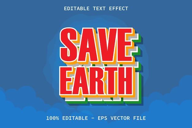 Salve a terra com efeito de texto editável de estilo moderno