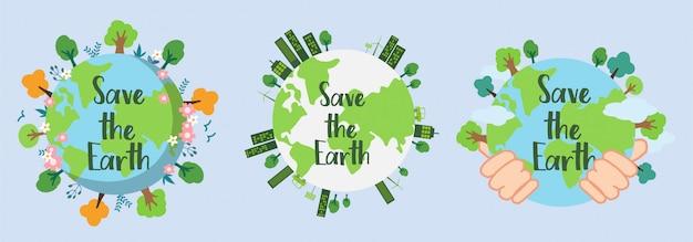 Salve a terra. salvar ambiente