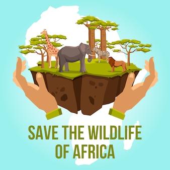 Salve a vida selvagem do conceito de áfrica