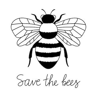 Salve as abelhas desenho de contorno tipo abelha ilustração vetorial de linha