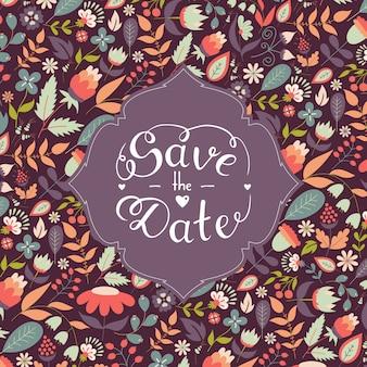 Salve as letras da data com lindos florais,