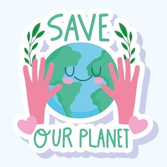Salve as mãos do mundo com um adesivo de desenho animado de planeta e folhagem