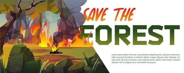 Salve o banner de desenho animado da floresta com fogo queimando em madeira com chamas furiosas