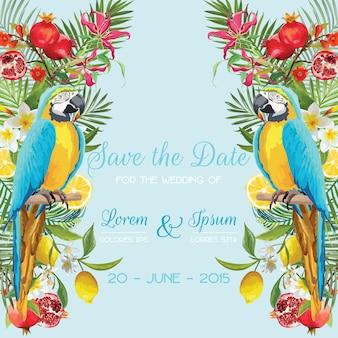 Salve o cartão de casamento data com flores tropicais, frutas, pássaros do papagaio. fundo floral
