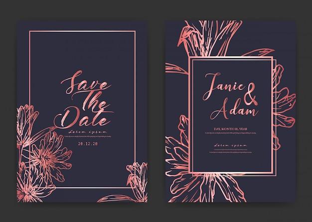 Salve o cartão de casamento de data, cartões de convite de casamento com mão desenhada botânica.
