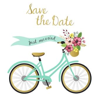 Salve o cartão de casamento de data com ilustração de bicicleta.