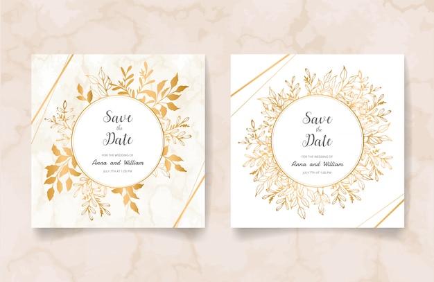 Salve o cartão de convite de casamento com galhos e folhas douradas