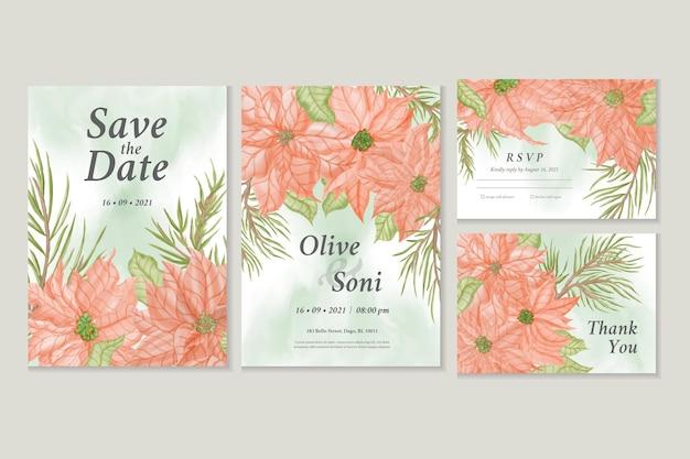 Salve o cartão de convite de data com flor de poinsétia em aquarela