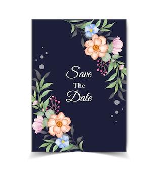 Salve o cartão de convite de data com flores e folhas