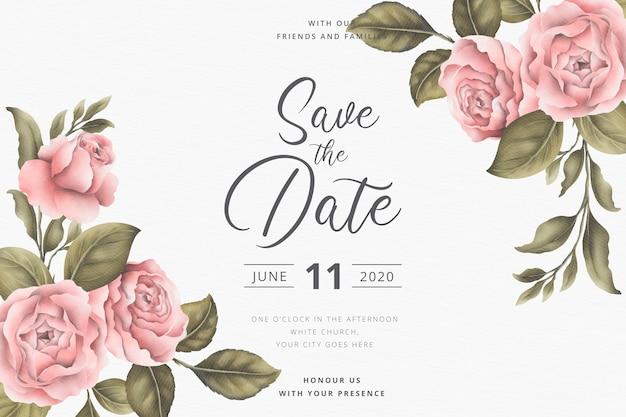 Salve o cartão de convite de data com peônias vintage
