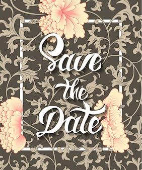 Salve o cartão de convite de data em fundo floral
