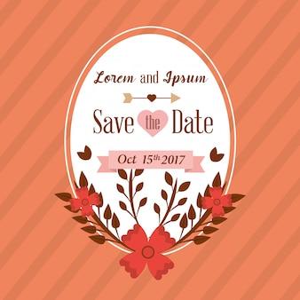 Salve o cartão de data casamento com decoração floral