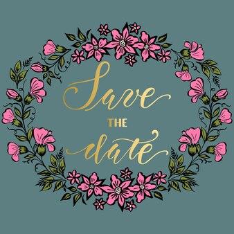 Salve o cartão de data com arte de fundo floral