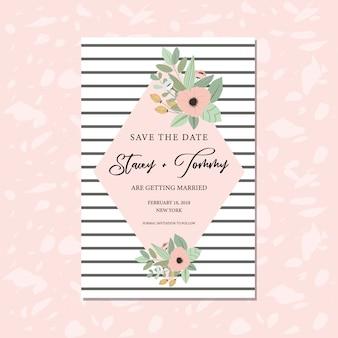 Salve o cartão de data com florais bonitos