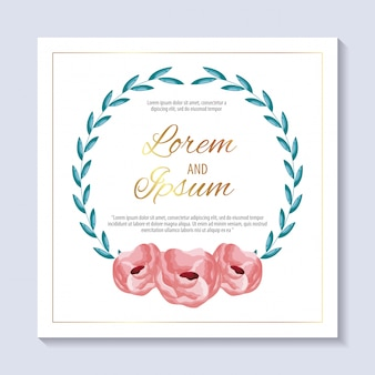 Salve o cartão de data com flores cor de rosa e folhagem