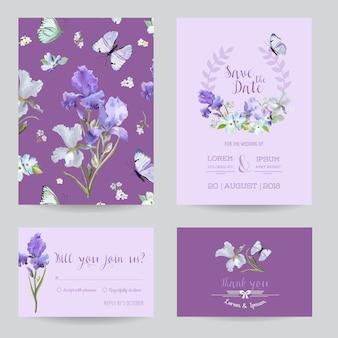 Salve o cartão de data com flores de íris e borboletas voadoras