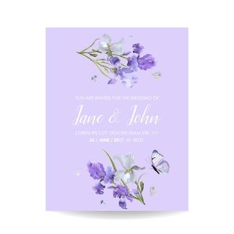 Salve o cartão de data com flores de íris e borboletas Vetor Premium