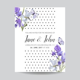 Salve o cartão de data com flores de íris e borboletas