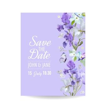 Salve o cartão de data com flores e borboletas