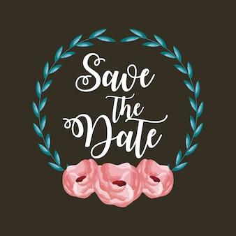 Salve o cartão de data com flores e folhagem