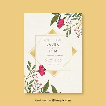 Salve o cartão de data com flores e ornamentos